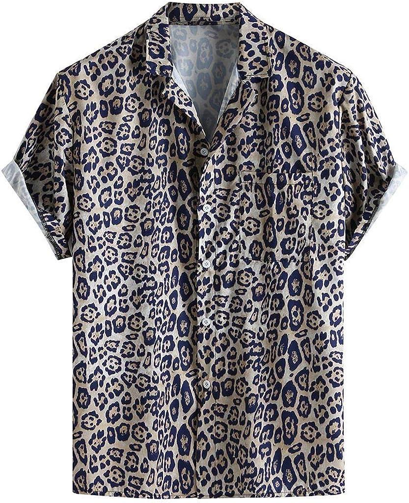 Camiseta de Piel de Leopardo para Hombre, Camisa Holgada, Calle Que dispara el día a día, para Hombre, Manga Corta Turquesa XL: Amazon.es: Ropa y accesorios
