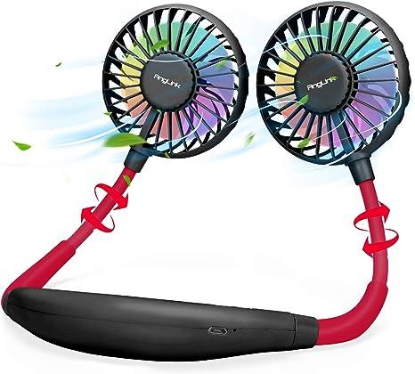 AngLink Ventilador Cuello, Ventilador Portatil, USB Recargable Mini Ventilador de Manos Libres, 3 velocidades, rotación Libre de 360 °, luz LED, para Mascotas Viajes Interior Exterior