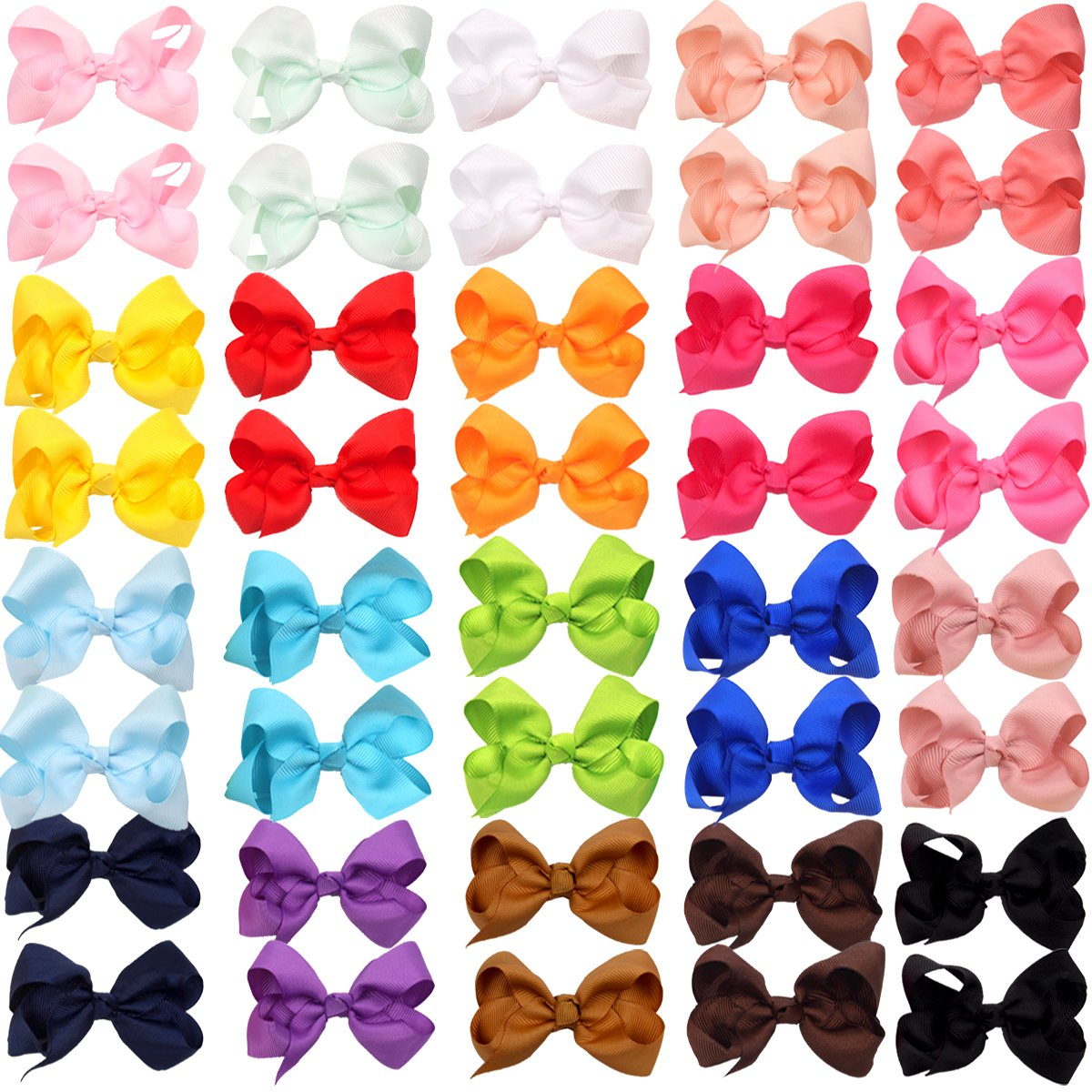 40pcs Mini Grosgrain Ribbon Pinwheel Hair Bows Alligator Clips for Baby Gilrs Toddlers Kids in Pairs