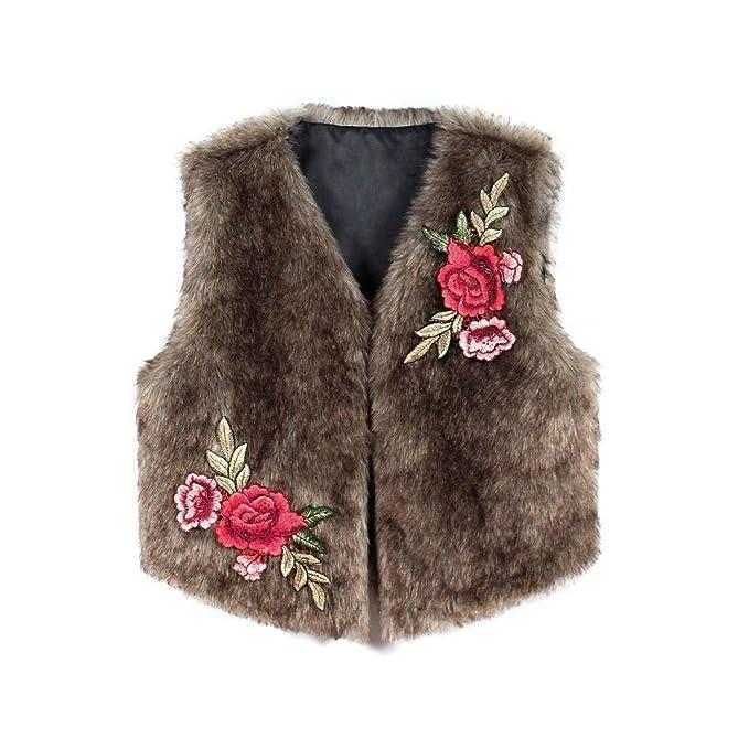 Chaqueta De Piel Mujer Elegantes Moda Vintage Grueso Giacche Inverno Color Sólido Floreadas Sintético Piel Bordados
