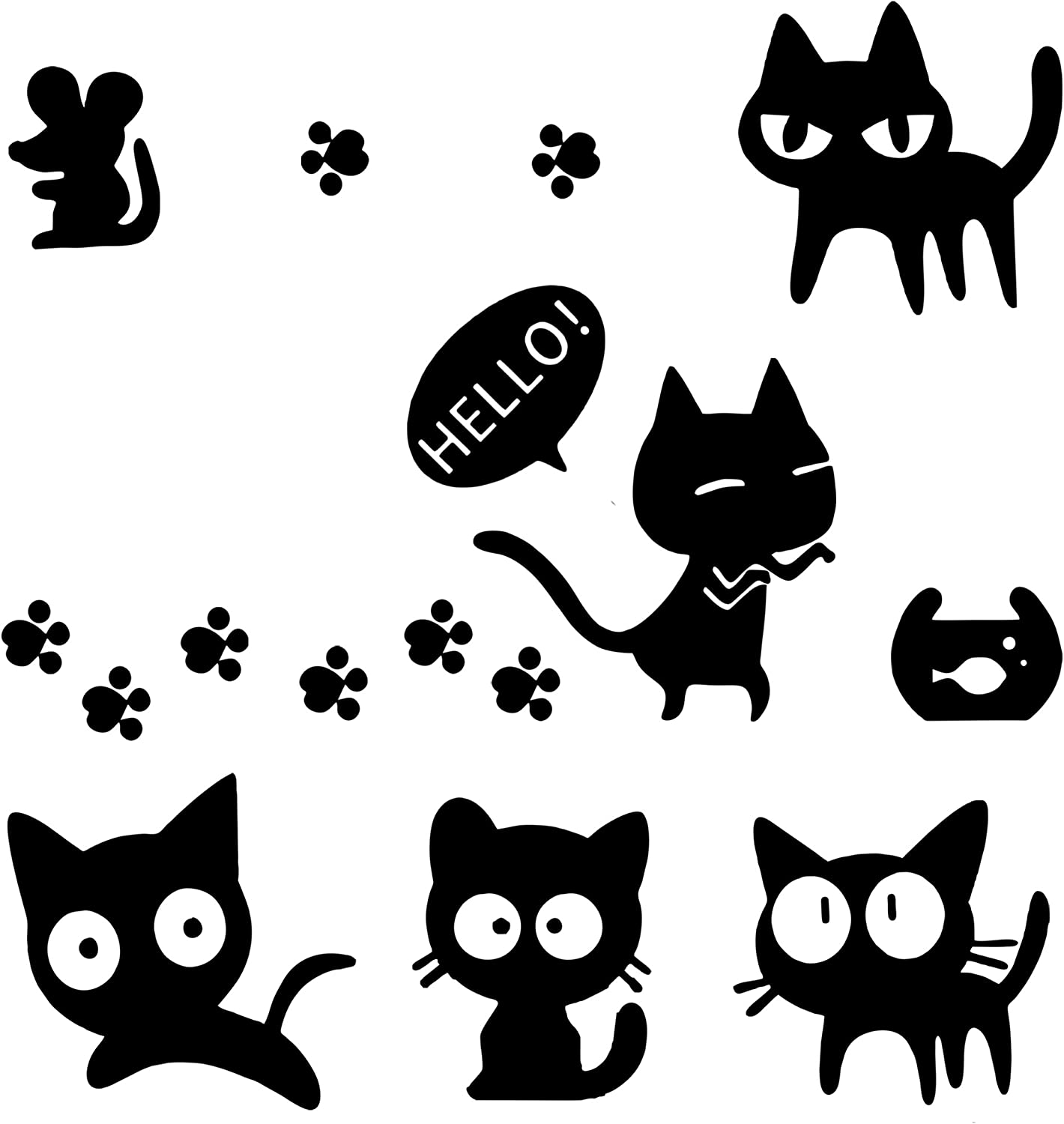 1797 Vehicle Stickers Car Decals Accessories Decorations Cute Cat Claw Mouse Rat Fish Tank PVC Funny Animal Door Bumper Laptop Windows Windshield Trunk Tailgate PC Waterproof Cool Black Pack of 7