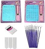 Royalkart Latest Edition Nail Art Stamping Image Plate Double Kit With 15 Pcs Nail Art Brush & Nail Art Finger Tip Guide Sheet Gift For Girl Women(XY10-XY14)