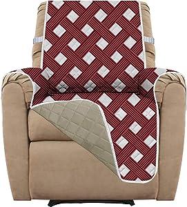 Easy-Going Recliner Sofa Slipcover Reversible Sofa Cover Furniture Protector Printing Couch Cover Water Resistant Elastic Straps PetsKidsChildrenDogCat(Recliner,Wine Diamond/Beige)