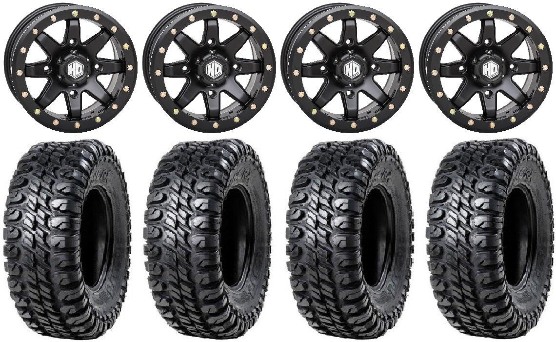 Bundle - 9 Items: STI HD9 14' Beadlock Wheels MB 31' Chicane RX Tires [4x156 Bolt Pattern 12mmx1.5 Lug Kit] Multiple