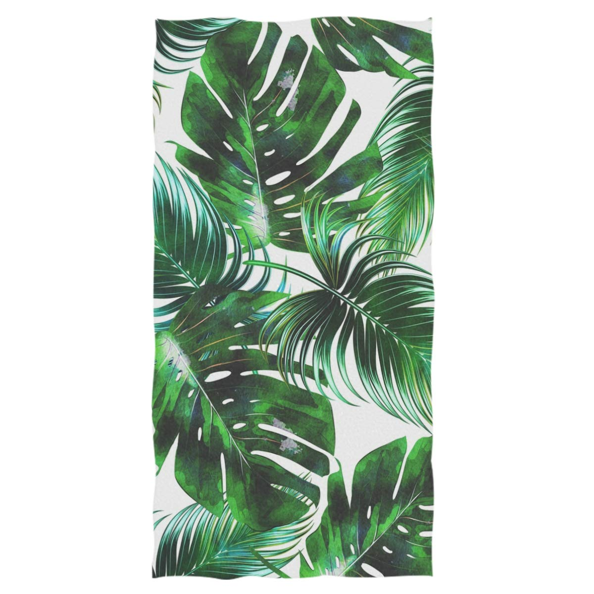 Wamika Tropical Palm Leaves Extra Large Hand Towels Jungle Floral Ultra Soft Bath Towel Highly Absorbent