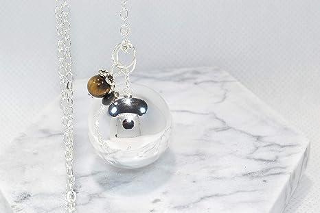 Bola de embarazo con ojo de tigre – 20 mm con cadena, 100% chapado en plata, perla de ojo de tigre natural, litoterapia, personalizable, creación ...