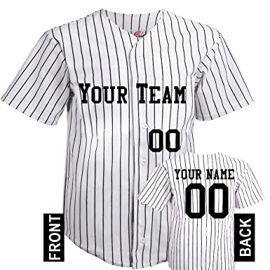 2f24d34be5a Button Down Pinstripe Custom Baseball Jersey Scn In Adult Small With Black  Pinstripes