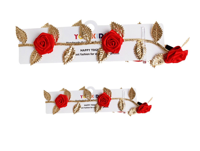Merroyal Fashion Baby Gold Leaf Flower Headband Hair Bands