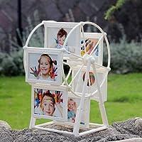 MJW 5 Inch 6 Frame Rotating Ferris Wheel Windmill Shape 12 Photos, Christmas Wedding Gift Preferred Decoration (White)