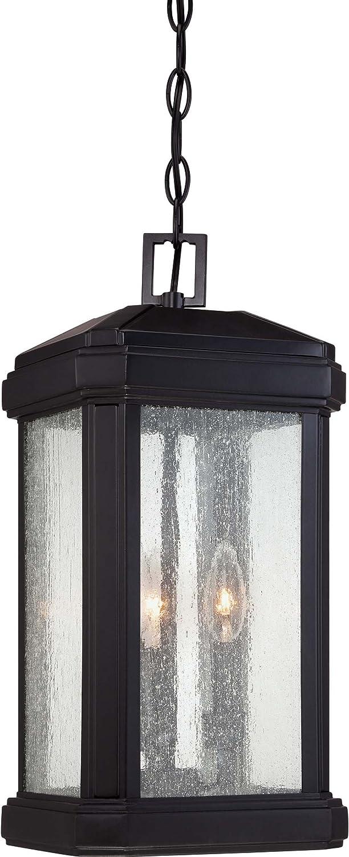 Quoizel TML1908K Trumbull Outdoor Pendant Lantern Ceiling Lighting, 3-Light, 180 Watts, Mystic Black (18