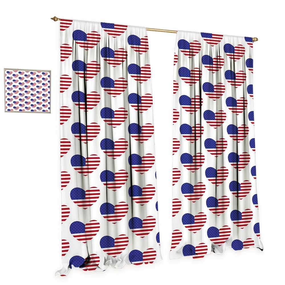 cobeDecor 4th of July Blackout Window Curtain Pattern with American Flags in The Shape of Heart Love of Nation Customized Curtains W72 x L84 Red White and Navy Blue