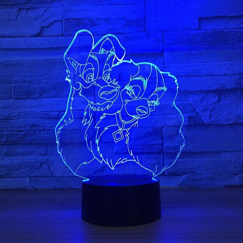BFMBCHDJ Lámpara de forma de dos perros 3D Ilusión visual Luz de ...