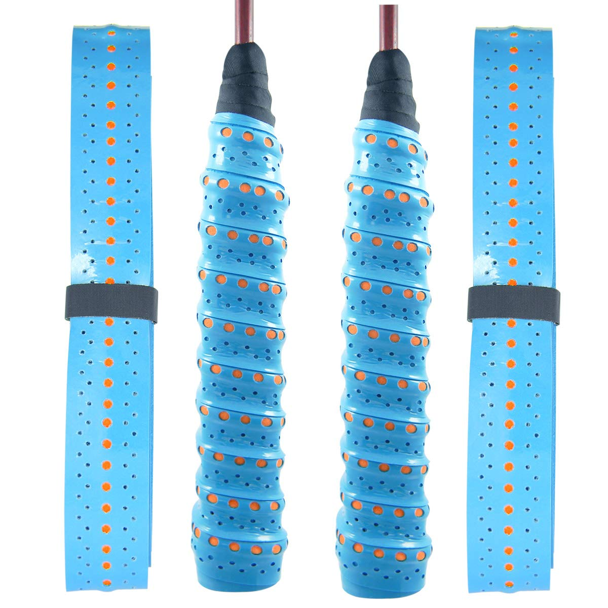 Quality Yes QY 2Pack Widened Perforated Super Absorbent Tennis Racket Overgrip Anti Slip Badminton Racket Tape Wrap Table Tennis Racket Tape 2 Tone Light Blue
