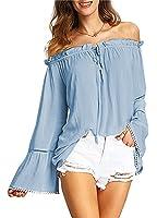 Relipop Women's Backless Off Shoulder Tops Long Sleeve Shirt Strapless Blouses