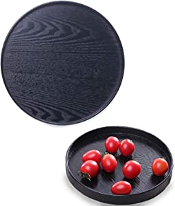 Round Wood Serving Tray, Non-Slip Tea Coffee Snack Plate Food Meals Serving Tray, Japanese Wooden Tray for Eating, Home Kitchen Restaurant (9.5inch, Black)