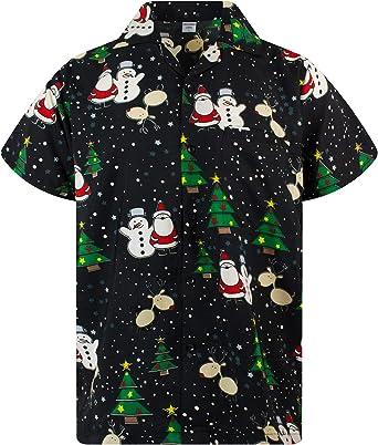 King Kameha Original Camisa Hawaiana | Caballeros | XS-6XL | Manga Corta | Bolsillo Delantero | Estampado Hawaiano | Noel Navidad: Amazon.es: Ropa y accesorios