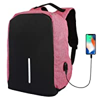 DeoDap Black and Pink Anti Theft Laptop Backpack Bag for Men with USB Charging Port