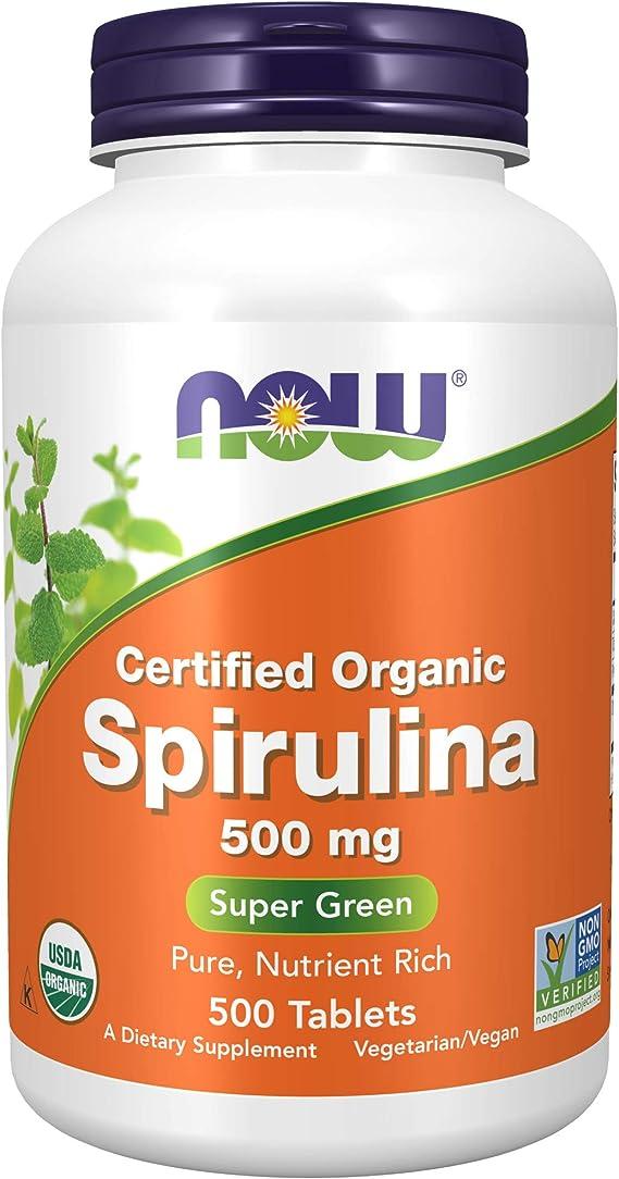Certified Organic Spirulina, 500 mg, 500 tabletas - Now Foods: Amazon.es: Salud y cuidado personal