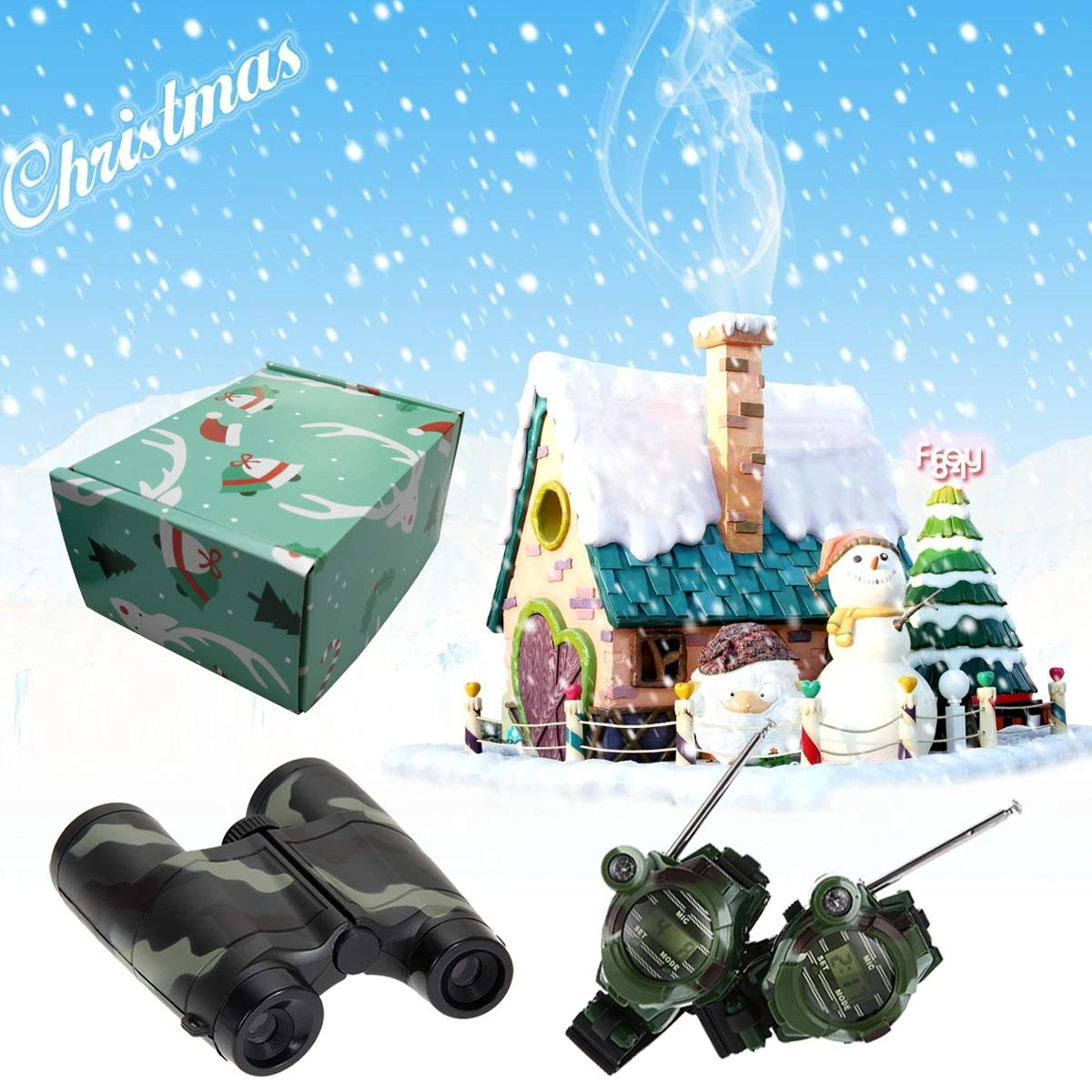 Petask Kids Walkie Talkies and Binoculars for Kids - Outdoor Toys Two-Way Radios Walky Talky for Children, Cool Outdoor Walkie Talkie Kit for Boys and Girls + Kids Binoculars, Camouflage by Petask (Image #7)