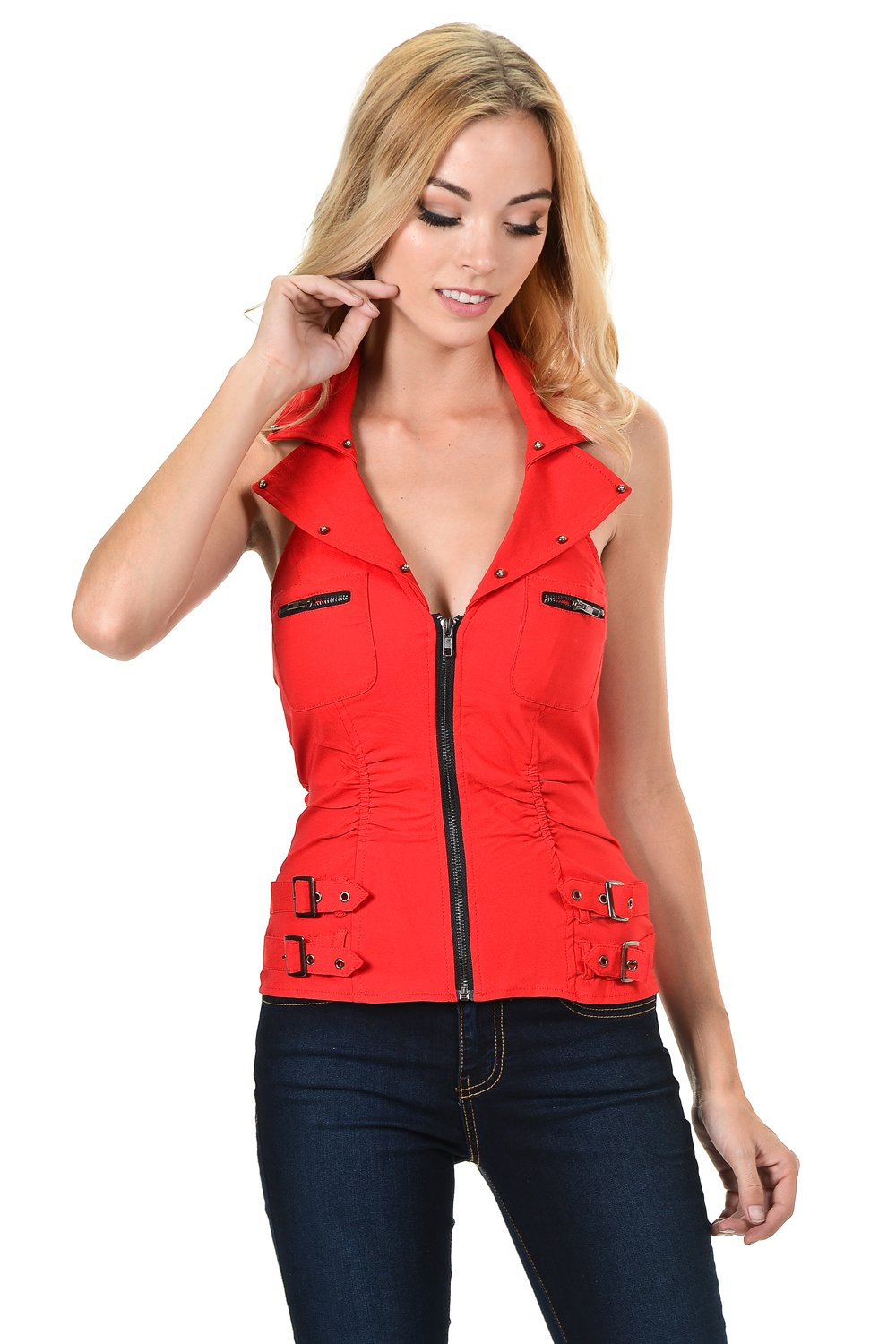 Sexy Stretched Rhinestones Collar Halter Rave Club Wear Bustier Zipper Vest Top (Large, Red)