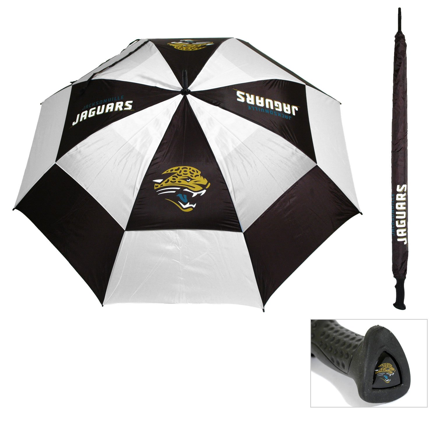 Team Golf NFL 62'' Golf Umbrella with Protective Sheath, Double Canopy Wind Protection Design, Auto Open Button