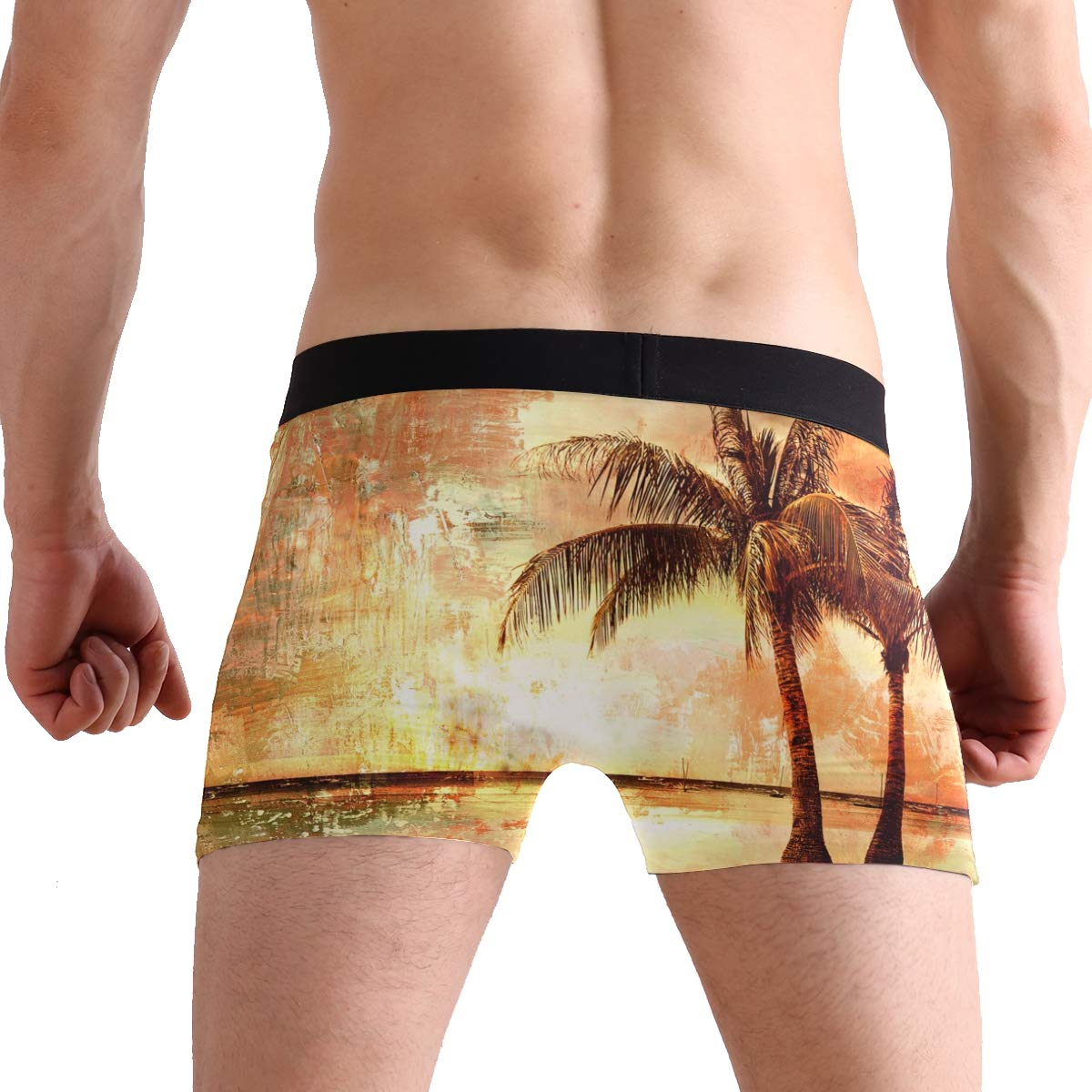 Oil Painting Coconut Tree Sunset Mens Underwear Soft Polyester Boxer Brief for Men Adult Teen Children Kids S