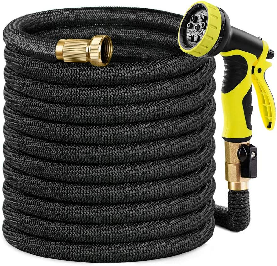 """Caferria Garden Hose Expandable Water Hose 75ft Lightweight 3/4"""" Solid Brass Fittings Extra Strength Fabric Triple Latex Core Flexible Hose with 9 Mode Spray Nozzle for Lawn Plants Car Washing (Black)"""