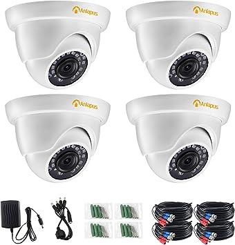 Opinión sobre Anlapus 4pcs 1080P Cámara de Vigilancia Exterior Domo Cámara de Seguridad, 20M Visión Nocturna, Blanco