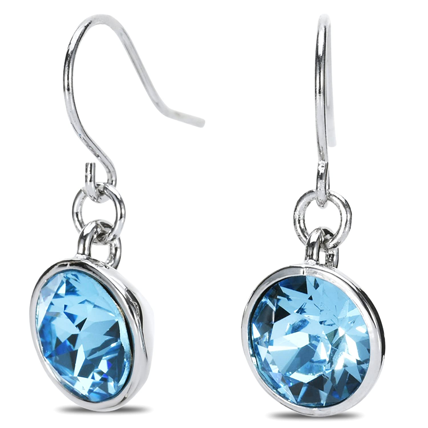 UPSERA Blue Aquamarine Colored Silver-Tone Solitaire Crystal drop dangle hook piercing earrings Hypoallergenic Jewelry set for Women Girls Made with Swarovski Crystals, Perfect for Mother's day Gift