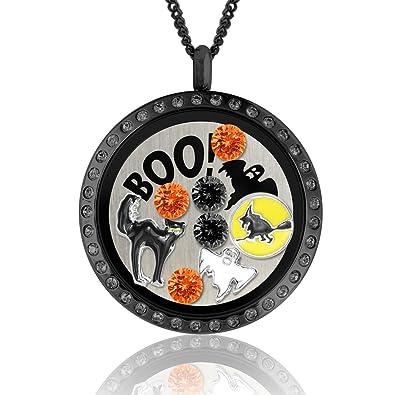 Amazon.com: Halloween Jewelry Floating Charm Lockets Halloween ...