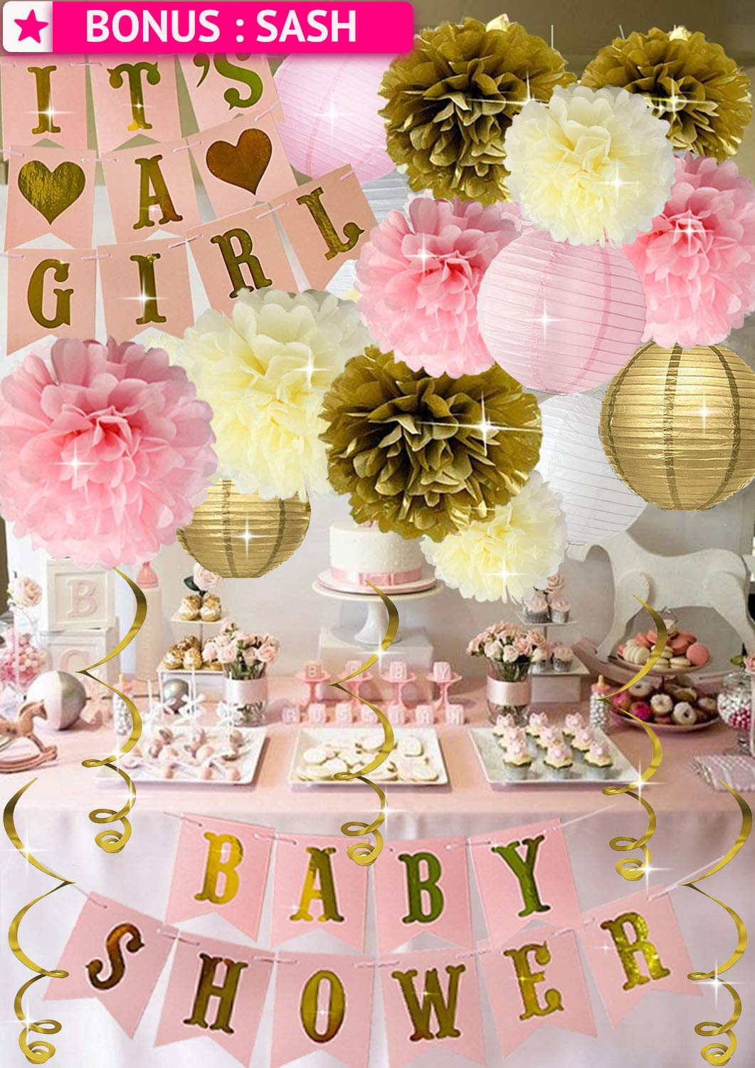 Baby Shower Decorations for Girl Pink Gold Princess It's A Girl Banner Poms Lanterns Mom To Be Sash by PGNART
