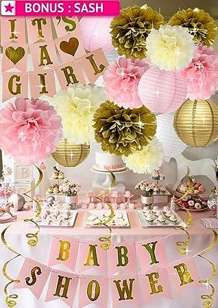 Amazon.com: Decoración de la ducha de bebé rosa y dorada ...