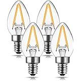 C7 Mini Candelabra LED Bulb, DORESshop No Dimmable C7 LED Filament Night Bulb, 2W (20W Equivalent), E12 Candelabra Base, Warm