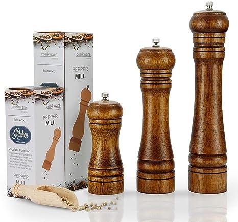 8 Inch Brown Adjustable Ceramic Rotor Wood Spice Pepper Mills Pepper Grinders and Salt Grinders Pepper Shaker with Ceramic Grinding Mechanism Tool