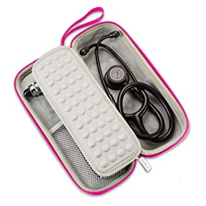 Caseling Hard Stethoscope Case Compatible with 3M Classic III, Lightweight II S.E, Cardiology IV Diagnostic, Includes ID Slot and Mesh Pocket for Nurse Accessories (Pink - Pu Leather) (Color: Pink - Pu Leather)