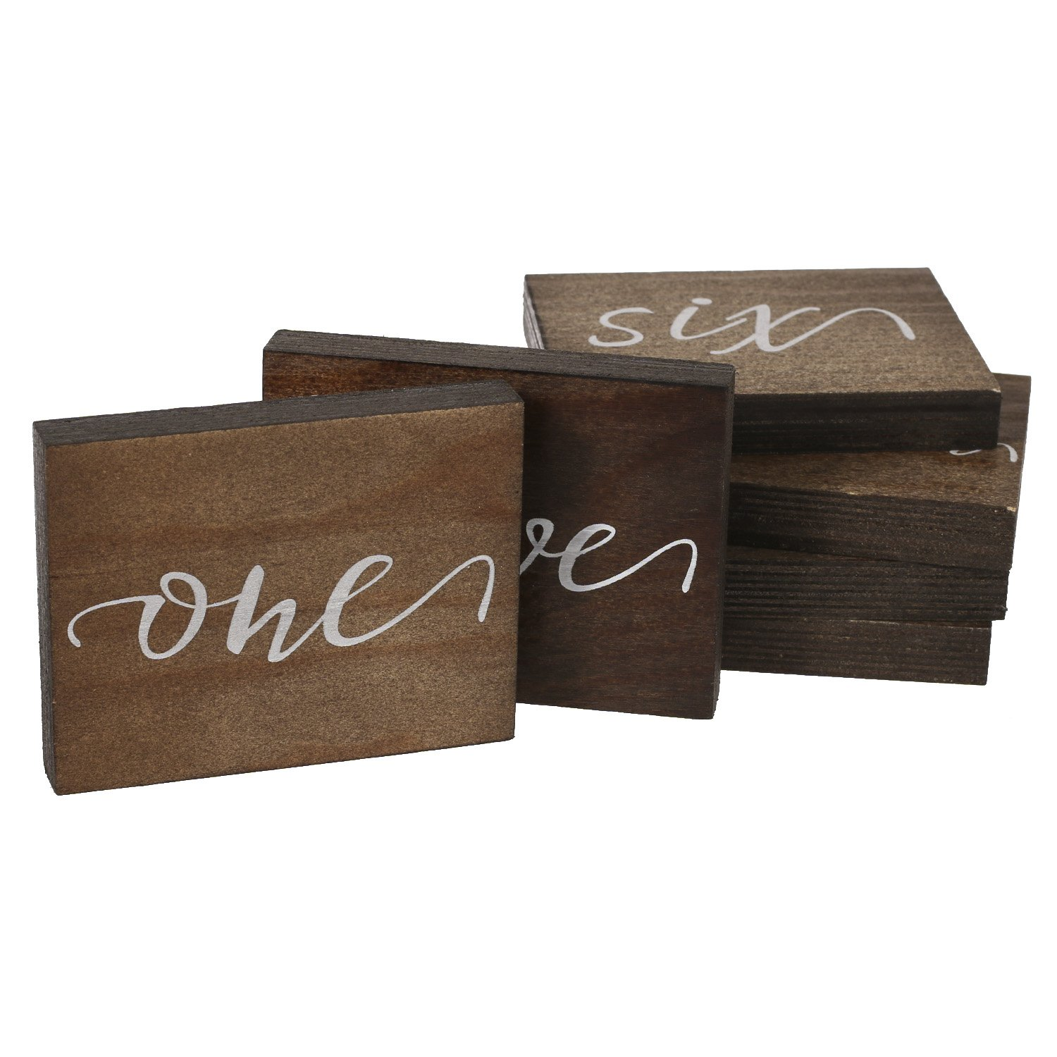 Ling's moment Rustic Elegant Calligraphy Wooden Table Numbers Outdoor Romantic Bohemia Wedding, Annual Dinner Catering Decoration, 1 to 15, Pack of 15