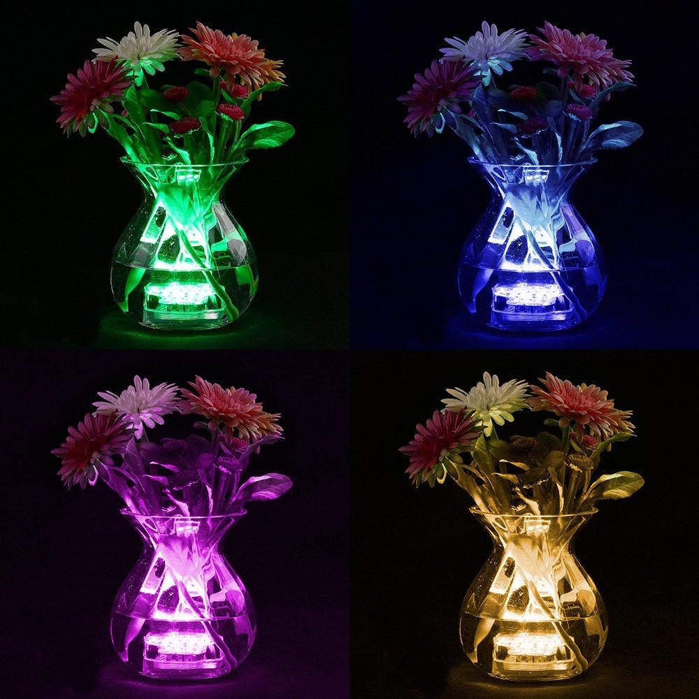 FURADO 10 RGB Multi Changement de couleur étanche LED pour vase, aquarium, bassin, Halloween, Noël, plastique