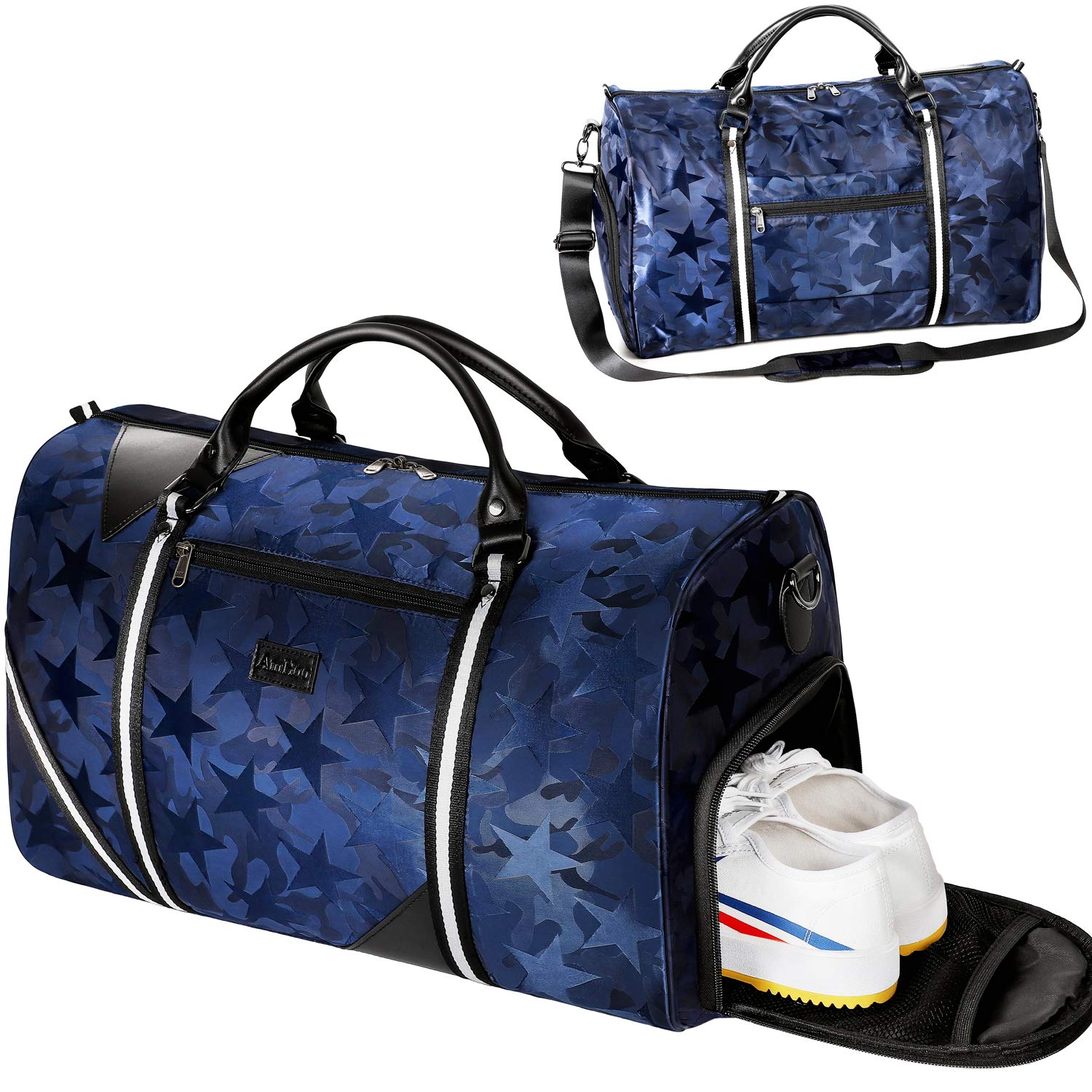 6a935a79832a AmHoo Travel Duffel Bag Waterproof Nylon Weekender Gym Bag + Isolated Shoe  Pocket +Inner TPU Moisturizing Bag For Women/Men
