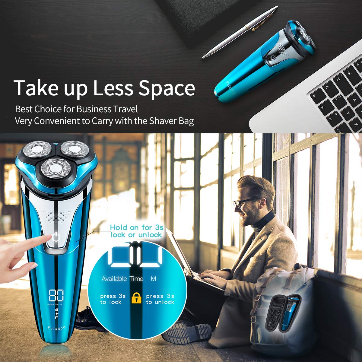 Paladou Professional Electric Razor Rotary Shavers For Men, Best Personal Portable Travel With Case Bag, Waterproof Cordless Facial Face Beard Trimmer Gift Set, Wet Dry Rechargeable USB Series Kit
