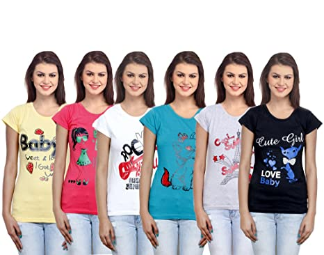 e37c6c2dc917 IndiWeaves Women's Cotton T-Shirts (Pack of 6)(310000102030405-IW-XXL-FBA_Multicolor_XX-Large):  Amazon.in: Clothing & Accessories