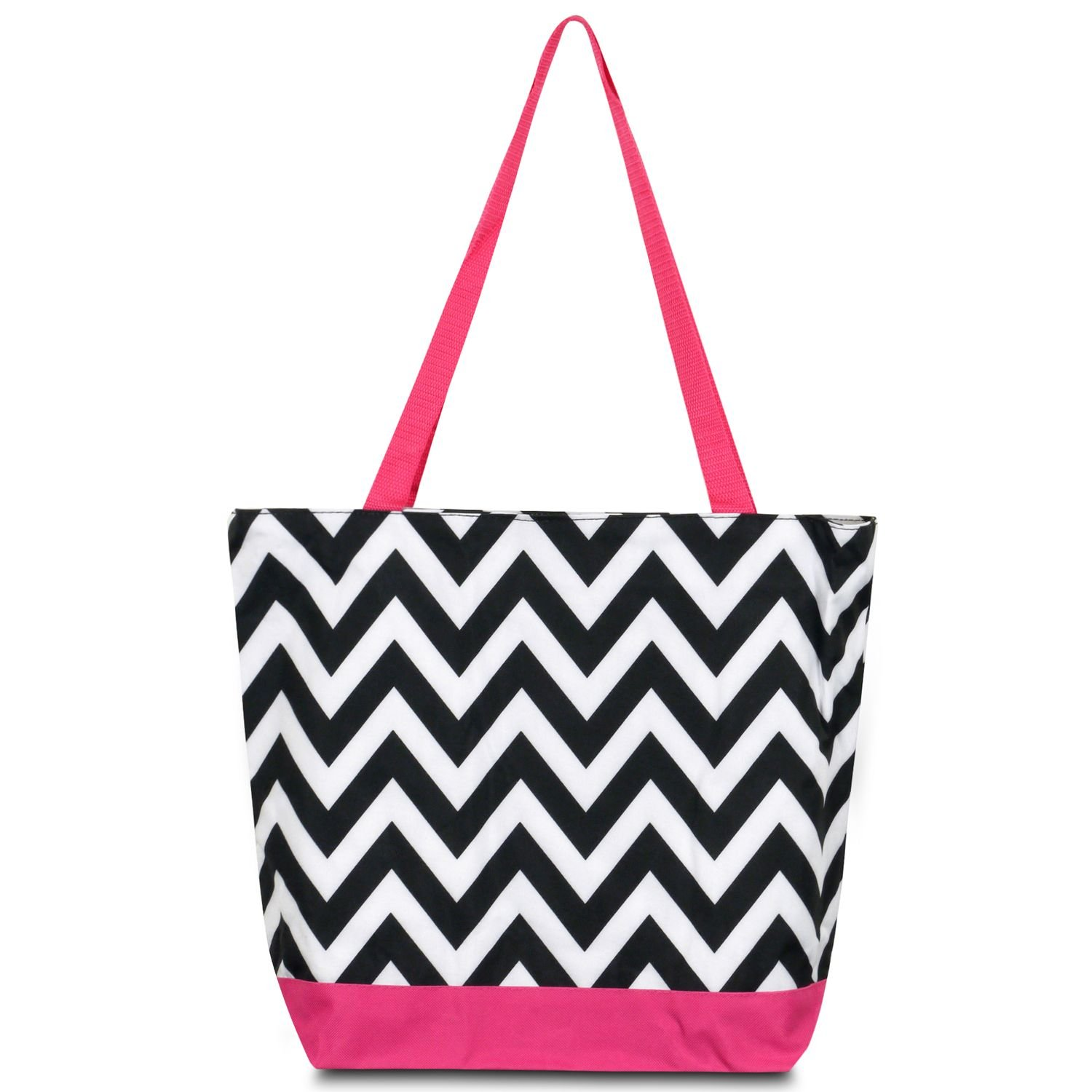 zodaca Large All Purpose Travel Toteバッグ B073QHH2BN Black/ White Chevron with Pink Trim Black/ White Chevron with Pink Trim