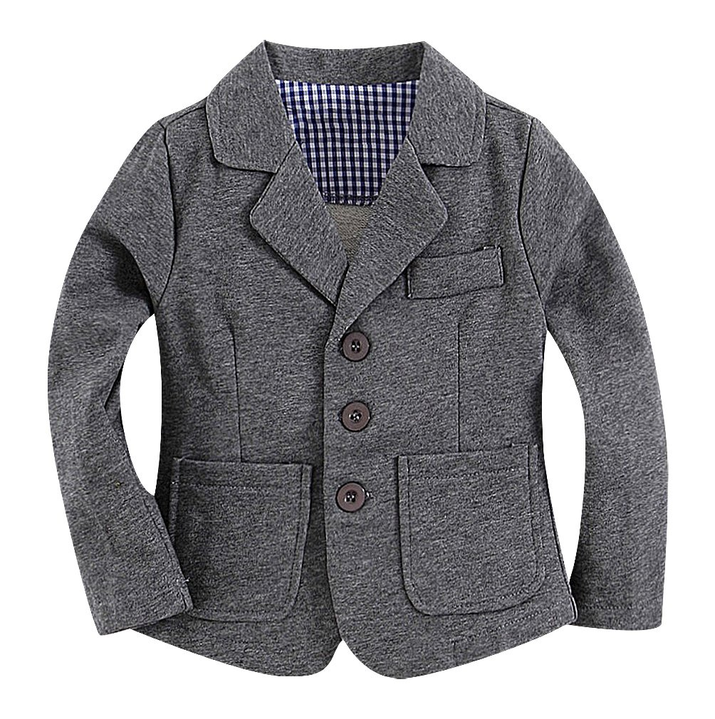 Sweety Baby Boys Solid Color 3 Button Turndown Collar 2 Pocket Cotton Blazer, Gray 12-18 Months