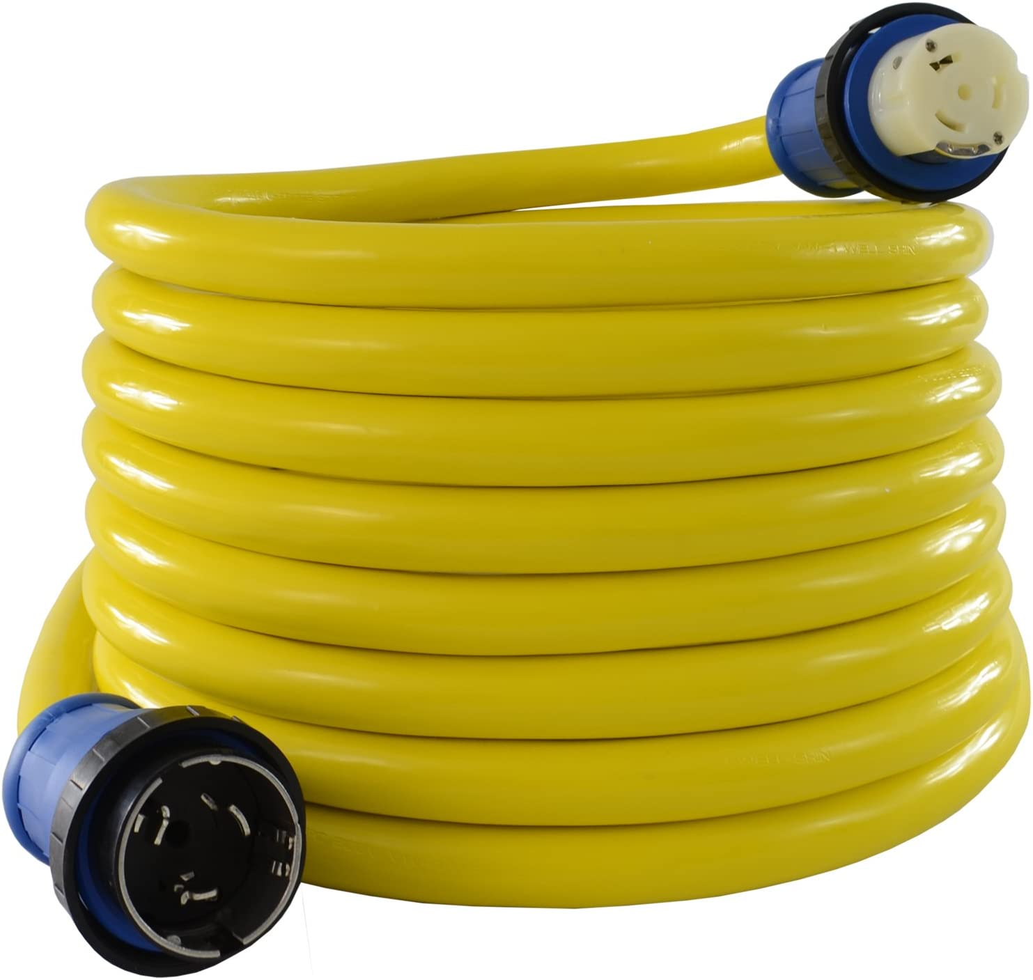 Conntek 50 Amp 125/250-Volt Marine Shore Power Extension 4 Wires Cord with Threaded Ring (Yellow 50-Feet) : Boating Shore Power Cords : Sports & Outdoors