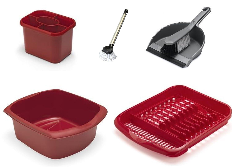 ADDIS Washing Up and Cleaning Set - Dish Drainer - Washing Up Bowl - Dustpan - Dish Brush (Cream)