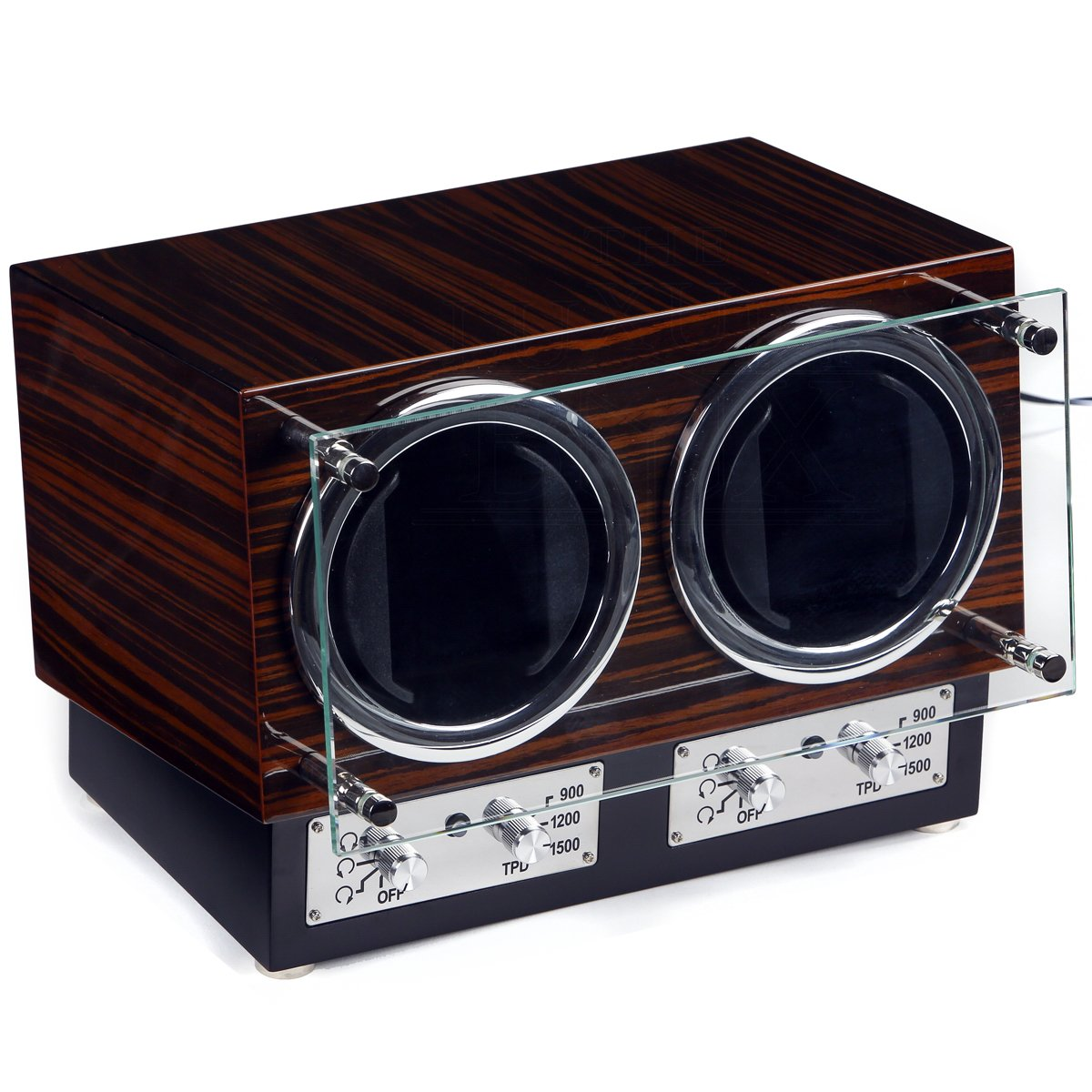 The Luxury Box - Paragon 2 Glass Window Display Double Watch Winder - Color: Ebony by The Luxury Box