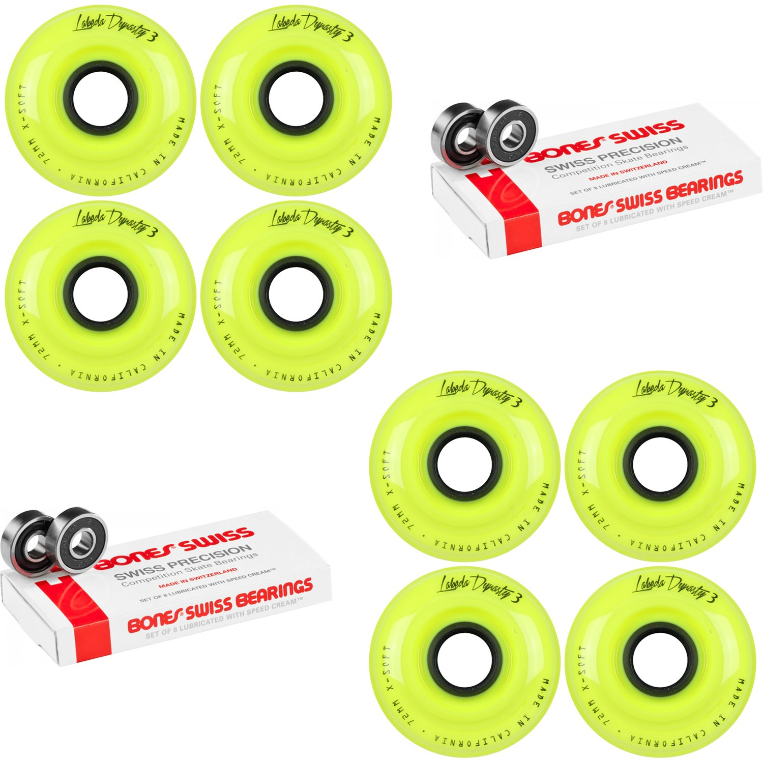 Labeda WHEELS Inline Hockey DYNASTY 3 72mm X-SOFT Yellow 8-Pack Bones Swiss by Labeda