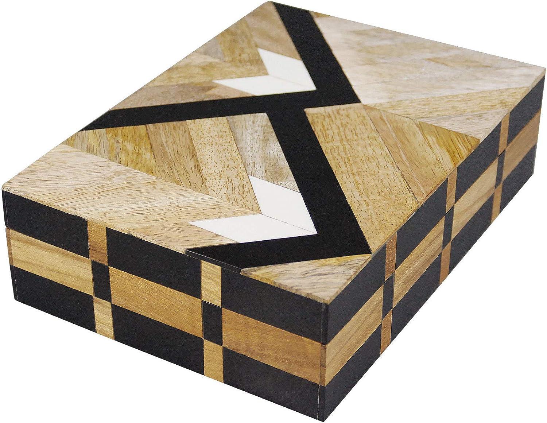 NIKKY HOME Mango Wood Storage Boxes Hand Carved Decorative Jewelry Trinket Keepsake Boxes 7