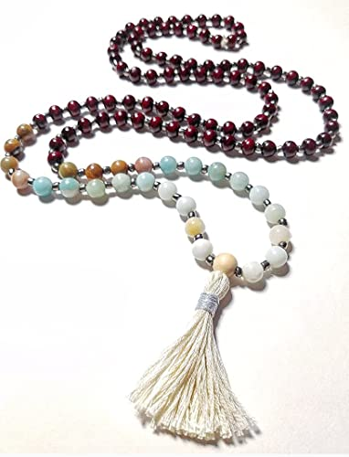 Bohemian Mala style beaded necklace Amazonite dyed freshwater pearl glass With tassel Valentine\u2019s Day gift wood
