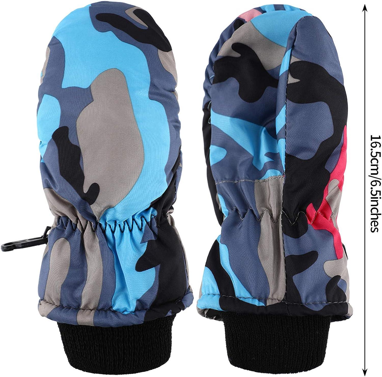WeiMeet 2 Pairs Boys Girls Cold Weather Mittens Gloves Winter Fleece Warm Mittens Gloves Snow Ski Gloves for Kids Children
