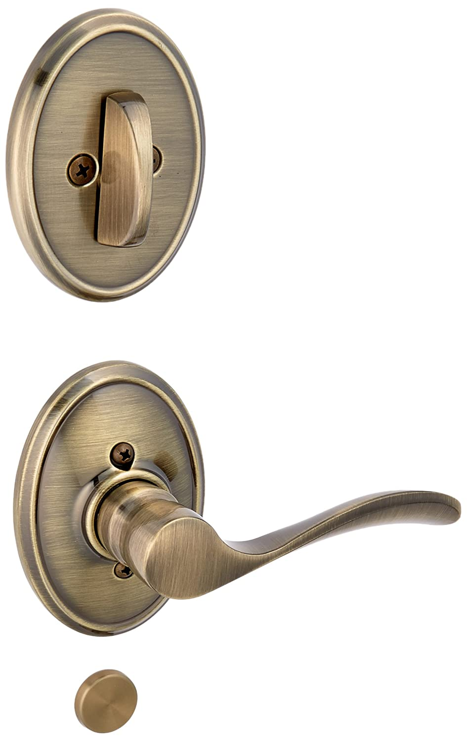 Schlage Lock Company F94CHP609WKFRH Antique Brass Interior Pack Champagne Lever Right Handed Dummy Interior Pack with Deadbolt Cover Plate and Decorative Wakefield Rose